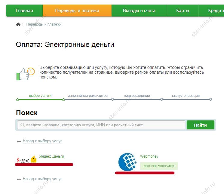 Сбербанк Онлайн - Электронные платежи - Яндекс Деньги, ВебМани