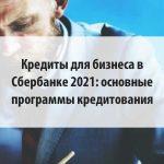 Кредиты для бизнеса в Сбербанке 2021: основные программы кредитования